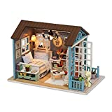 TuKIIE DIY Miniature Dollhouse Kit Wooden Doll House Accessories with Furniture Set Toy Model House Assembled Cabin Handcrafts Educational Toys for Birthday Gift Children Kid Teens Adults