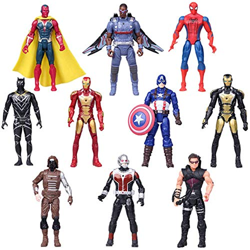 Super Heroes Action Figures Superhero Series Figure Set for Cake Decorations 6.7-Inch Action Figures 10 Pack for Kids Ages 3 and Up