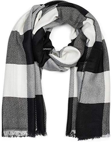 styleBREAKER chal unisex con motivo a cuadros de rayas bicolores y deshilachados, invierno, pañuelo 01017108