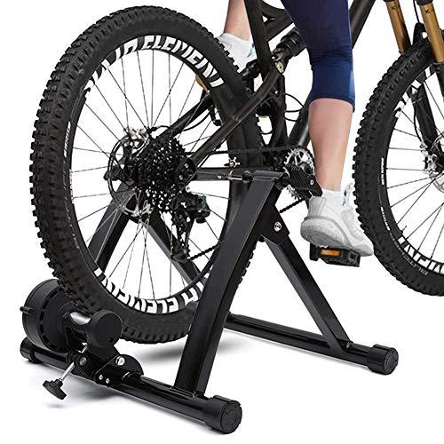 YourBooy Soporte para Entrenador de Bicicleta con Rueda de inercia, Marco estacionario para Bicicleta Turbo Trainer 6 Engranaje de Ciclo Resistencia Variable Cable controlado,Negro