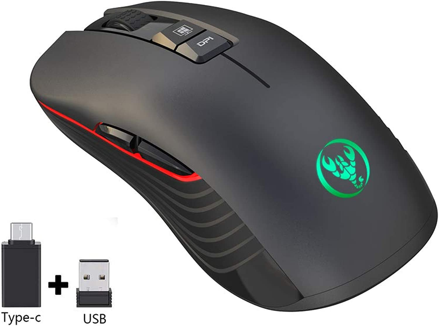 Ultra-Thin Wireless Mouse, 3600Dpi Adjustable colorful Light Gaming