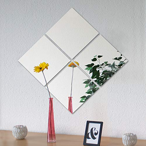 4 piezas de azulejos espejo Image 30 espejo cada 30x30cm decoración de la pared espejo de pared...