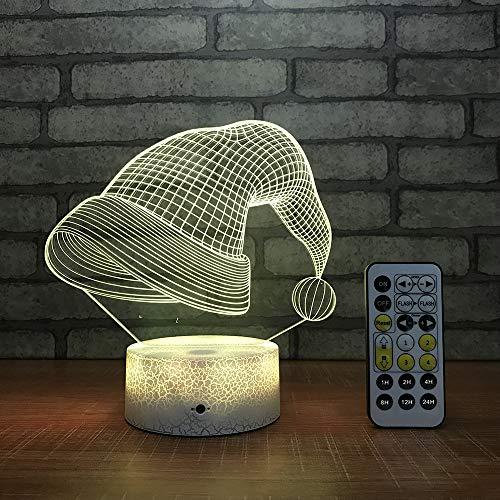 WJHXYD 3D-illusie-lamp met 3D-effect, voor het wisselen van de lichten voor de decoratie van de slaapkamer, acryl, type kerstmuts