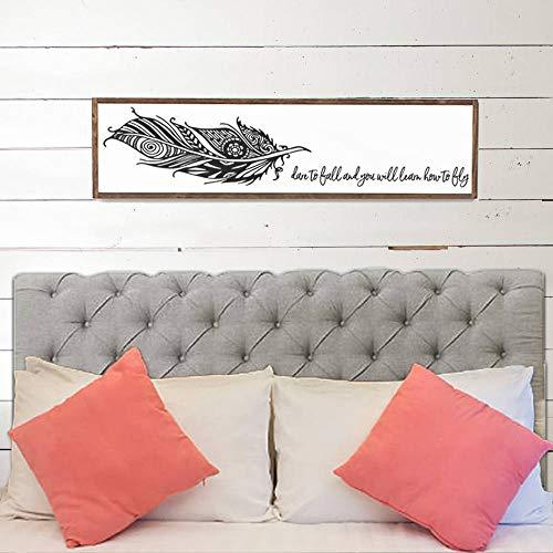 Ced454sy durven te vallen en je zult leren hoe te vliegen Wood Sign Home Decor Wood Signs Houten Tekenen Wall Decor Wall Art Feather Wood Signs