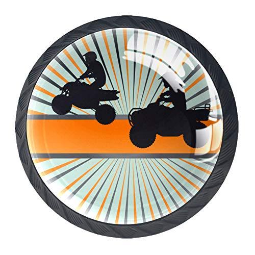 Yuzheng 4 Piezas Pomo y Tiradores Rally de Motos para Puertas de armarios de Cocina, Tiradores para armarios, cajones, Transparentes, 4 Unidades,Redondo, Negro 3.5×2.8cm