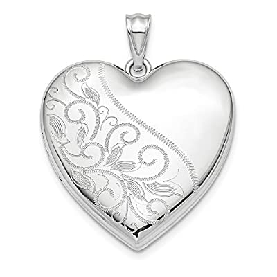 925 Sterling Silver 24mm Scrolled Ash Holder Heart Photo Pendant Charm Locket Chain Necklace That Holds Pictures Fine Jewellery For Women Gifts For Her