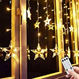 Star Curtain Lights, 138 Led 12 Stars Remote Window Curtain String Lights Plug in with 8 Flashing Modes Decoration for Christmas, Wedding, Bedroom, Party, Birthday, 7.3ft W, 3.3ft H, Warm White