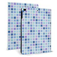 iPad mini4/mini5 7.9インチ ケース 手帳型 高級PUレザー オートスリープ機能 多角度調整 全面保護 (青系の四角のモザイクタイル )