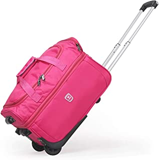 Expandable Soft Rolling Tote Travel Bag Suitcases with Wheels, Waterproof Rolling Duffel Bag Wheeled Business Carry on Luggage, Overnight Weekender Bags for Women Man (Color : Pink, Size : 23 inch)