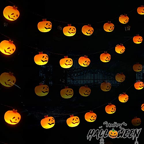 Halloween String Lights, Pumpkin Lights String with 2 Modes Steady/Flashing Light for Indoor/Outdoor Decor, Halloween Decorations with 9.8ft 20 Pumpkin Lights for Halloween Party Patio Bedroom. (8)