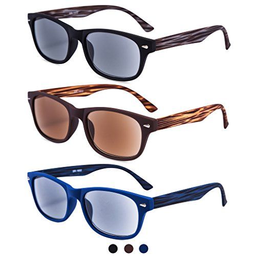 EYEGUARD 3 Pack Unisex Classic of Style Sunglasses Readers UV400 Protection Outdoor Reading Glasses for Men and Women 2.50 - Not Bifocals