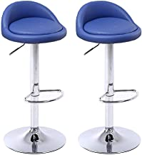 JGWJJ Adjustable Swivel Bar Stools Set of 2 (Blue), PU Leather Home Kitchen Bar Chairs with Arms and Padded Back, Chrome F...