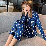 STJDM Bata de noche,Conjunto de pijamas de primavera para mujer, ropa de dormir de estilo dulce para amantes frescos, ropa de dormir de seda como pareja, ropa de dormir para hombres, M CreamyPink-Female