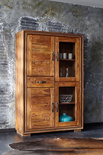 Vitrina Casagrande 2 puertas de cristal, 2 puertas de madera y 1 cajón, pieza de exposición maciza de Sheesham