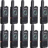 Retevis RT618 Mini Walkie Talkie PMR446 Radio Portátil Doble PTT, Transceptor Recargable Largo Alcance Walkie Talkie, Emergencia Radio de 2 Vías para Equipo, Hospital (Negro, 10 Piezas)