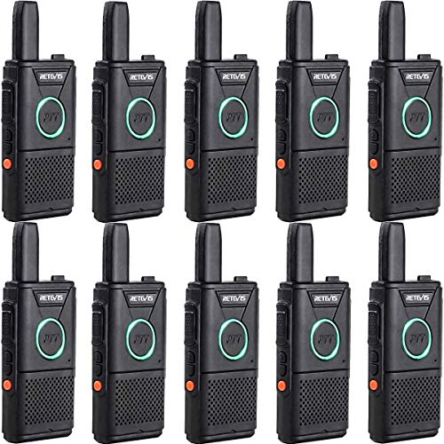 Retevis RT618 Mini Walkie Talkie PMR446 Radio Portátil Doble PTT, Transceptor Recargable Largo Alcance Walkie Talkie, Emergencia Radio de 2 Vías para Equipo, Hospital (Negro, 10 Piezas)