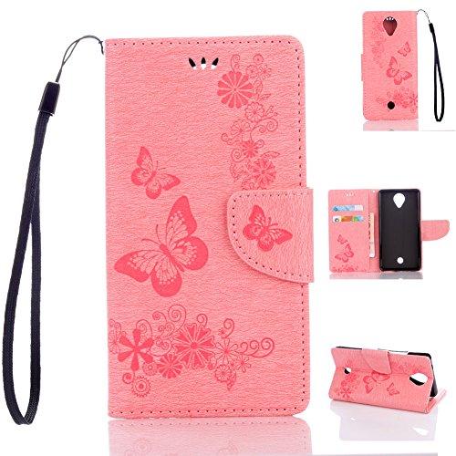 Wiko U Feel Handyhülle Book Case Wiko U Feel Hülle Klapphülle Tasche im Retro Wallet Design mit Praktischer Aufstellfunktion - Etui Rosa