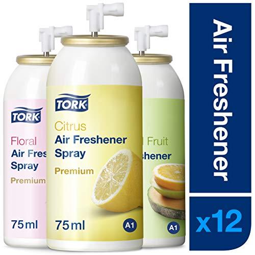 Tork 236056 Lufterfrischer Sprays im Mixed Pack - 4x Blütenduft, 4x Zitrusduft, 4x Fruchtduft / Neutralisieren unangenehme Gerüche / 12er Pack Nachfüller Duftspray A1 Premium / 12x75ml