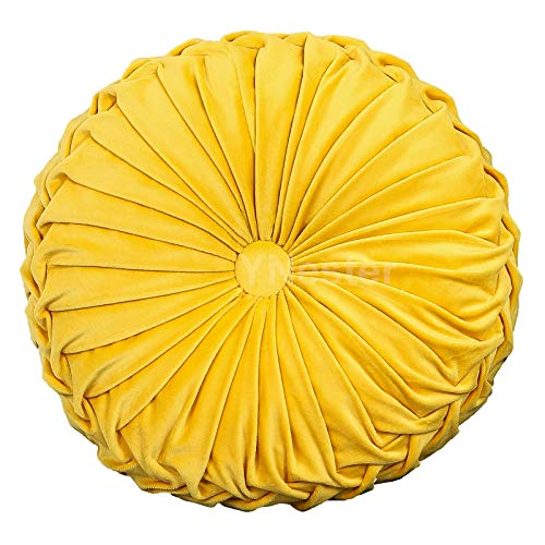 YNester Round Cushions Pillows, Solid Color Velvet Chair Sofa Pumpkin Throw Pillow Pleated Round Pillow for Home Bed Car Decor Floor Pillow Cushion (Yellow, 13.7x13.7x4.3inch)