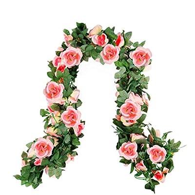 4 Pack Fake Rose Vines Garland Wedding Flower G...