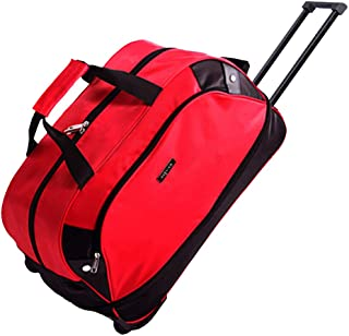SIYUAN Travel Rolling Duffel Foldable Duffle Suitcase Rolling for Trip Travelling Red Large 24 Inches