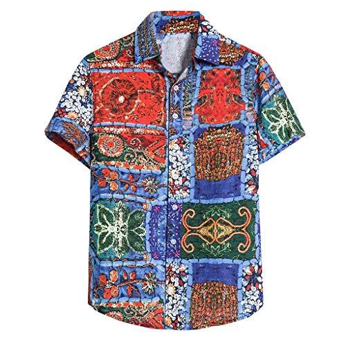 Xniral Kurzarm Strand Hemd Bluse Beiläufig Gedruckt Nationaler Stil Bequeme Lose T-Shirt Kurzarmhemden für Männer Vintage bedrucktes Stehkragen(f Blau,M)