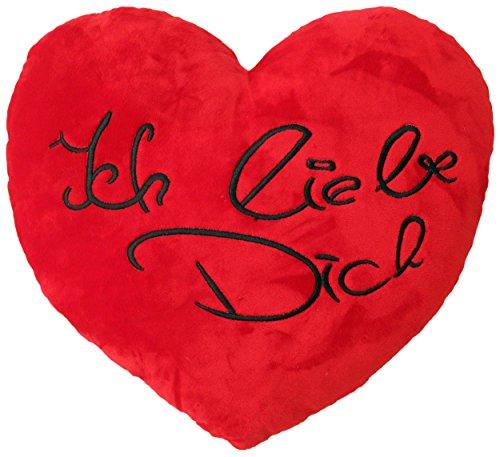 Wagner 9100 - Plüschkissen mit Ich Liebe Dich Schriftzug in Herz-Form 35 cm Herzkissen Plüschherz