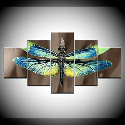DGGDVP 5 panelen gekleurde libelle vleugels moderne decoratie canvas kunst Hd Print schilderij op canvas voor woonkamer kunstwerk 30x40cmx2,30x60cmx2,30x80cmx1 Geen frame.