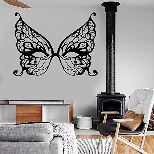 Máscara de mariposa calcomanía de pared masquerade secret dream girl dormitorio femenino decoración del hogar vinilo etiqueta de la pared arte mágico mural