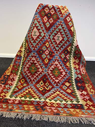 Afghan Kilim Oriental - Alfombra multicolor (193 x 126 cm), tejida a mano, vibrante, reversible, geométrica, tribal, hecha a mano con tintes vegetales
