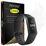 PEYOU [9-Pack] Compatible Pour Fitbit Charge 3 Protection écran,Couverture complète Protection d'écran Ultra HD Anti-Bulle Protection écran Compatible pour Fitbit Charge 3