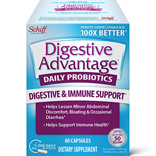 Digestive Advantage Daily Probiotic Capsules (80 Count In A Box), Helps Relieve Minor Abdominal Discomfort and Occasional Bloating, Supports Digestive and Immune Health, CFUs