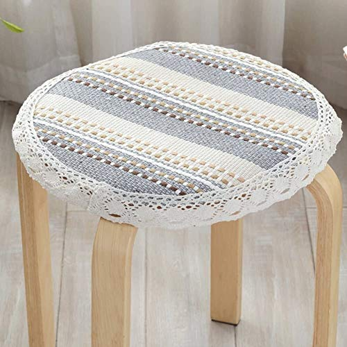 Set Of 4 Chair Cushions Round Non Slip Seat Cushion Lace Cotton Linen Seat Pad Round Four Season Round Stool Cushion Yoga Meditation Balcony Office (Color : I, Size : Diameter:40cm(16inch))