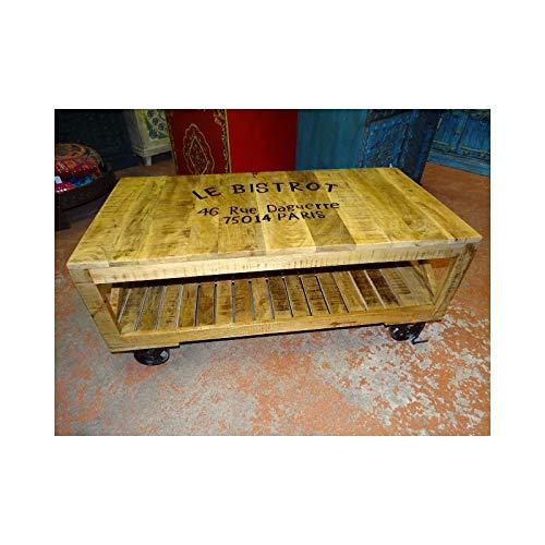 int. d'ailleurs - Couchtisch mit industriellem recyceltem Teakholz mit Laufrädern - PAL-1003