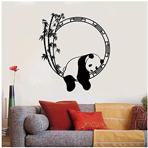 KBIASD Calcomanía de pared de animales divertidos decoración habitación de niños Panda bambú vinilo pegatinas de pared para sala de estar diseño de interiores de hogar chino 42x46cm