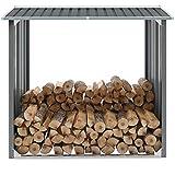 Capannone Porta Legna da Giardino 172 x 91 x 154 cm Legnaia da Esterno in Acciaio Zincato per la Legna da ardere-Grigio