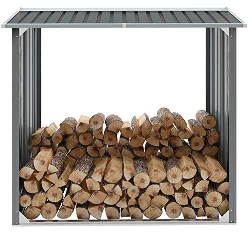 Cikonielf Lagerhaus aus Holz, Holzschuppen aus verzinktem Stahl, für den Innen- und Außenbereich, Grau, 172 x 91 x 145/154 cm
