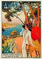 ERZANアメリカン 雑貨 アンティーク インテリア プレート ブリキ メタル 看板30x40cm1910年アンティーブフランスフレンチコートダジュールアートトラベル広告ブリキ看板