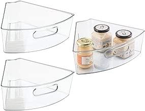 mDesign Kitchen Cabinet Plastic Lazy Susan Storage Organizer Bins with Front Handle - Medium Pie-Shaped 1/6 Wedge, 4