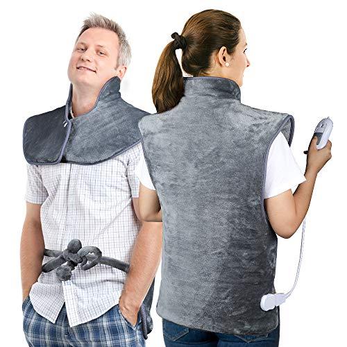 Heizkissen 60X100CM Nacken Schulter Rücken Elektrisch, HailiCare Wärmekissen Nacken Heizkissen mit 3 Temperaturstufen, Elektrisches Heizkissen mit Abschaltautomatik, ÜBerhitzungsschutz, Waschbar