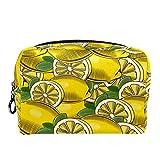 Bolsa de cosméticos Bolsa de Maquillaje para Mujer para Viajar para Llevar cosméticos, Cambio, Llaves, etc. Fruta sin Costuras de limón