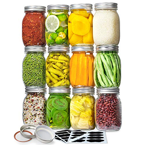 Vtopmart Regular Mouth Glass Mason Jars 16 oz, 12 Pack Glass Canning Jars with Metal Airtight Lids and Bands, for Meal Prep, Food Storage, Canning, Preserving, Drinking, Overnight Oats, DIY Projects
