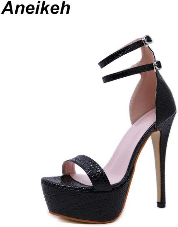 ANEIKEH High Heels Mode Frauen Sandalen Super High Heel Open Open The Toe Sandalen Dünne Ferse Club Sandalen Pumps Schuhe