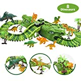 Feleph Dinosaur Race Track Toys for 3 4 5 6 7 8 Year Old & Up Boys Girls, Cool Dinosaur Tracks Play Set Flexible, Kids Best Gift with 8 Dinosaurs, 1 Car