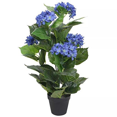 vidaXL Planta Artificial Hortensia con Macetero 60 cm Azul Maceta de Plástico