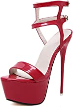 Women's leather fashion straps with sandals stiletto heels (Red,Lable 44/11.5 B(M) US Women)