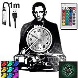 James Bond RGB LED Pilot Reloj de pared para mando a distancia, disco de vinilo moderno decorativo para regalo de cumpleaños