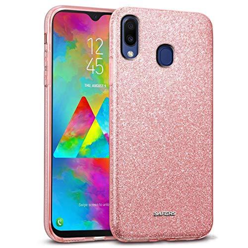 Verco Carcasa para Samsung Galaxy M20, diseño de purpurina, funda para Samsung M20, carcasa de silicona TPU, color rosa