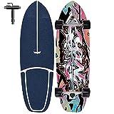 Monopatín Completo Cruiser Skateboard 76×24CM Retro Skate Board para Niños Adolescentes Niño Niña Longboardcon rodamientos ABEC-7CM, Longboard Cruiser Scooter Freestyle