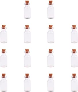 PH PandaHall Elite 14 Pack Small Glass Bottles Jars Tiny Clear Vials Storage Container With Cork Stoppers And Screw Eye Pi...
